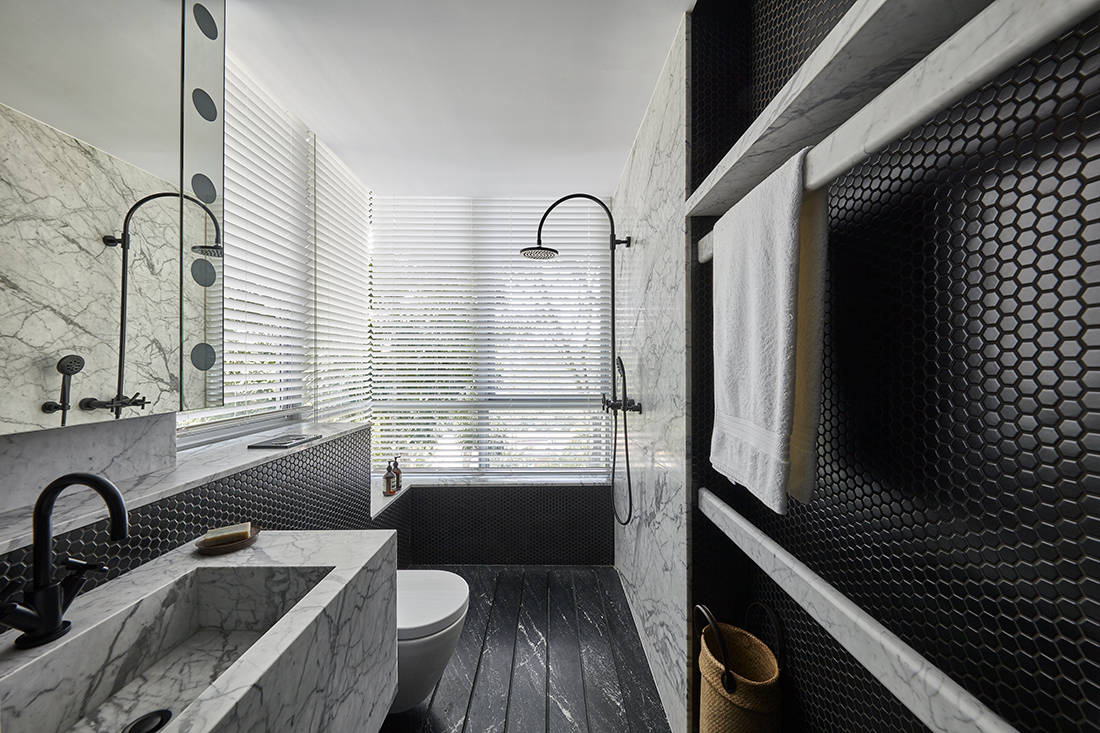 relaxed elegance in son's bathroom designed by Perinelli Design