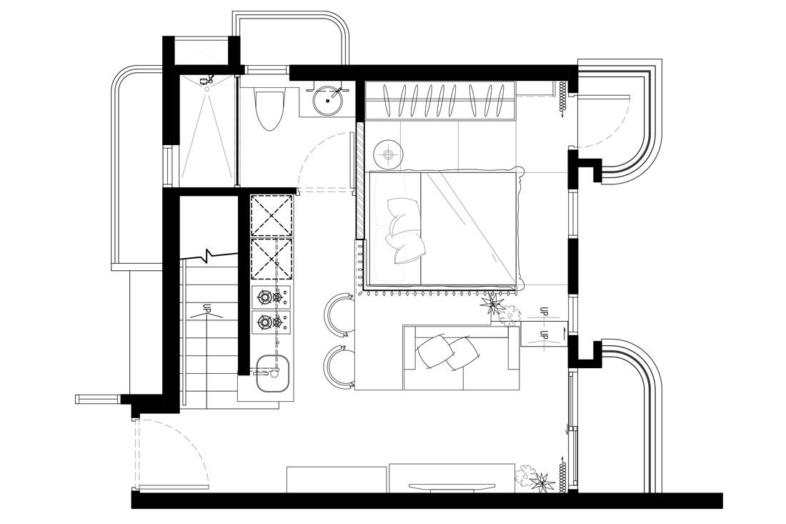 working from home in Alto Residences by Studio Adjective floor plan