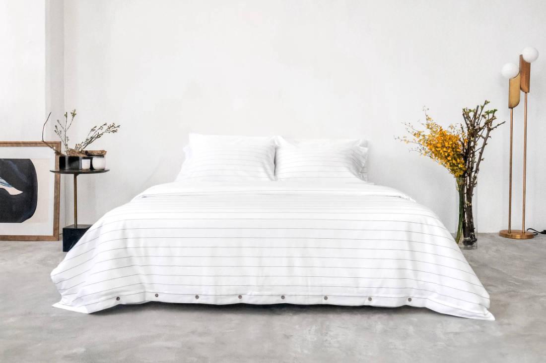 Sojao organic cotton pinstripe bedsheet eco-friendly product Singapore