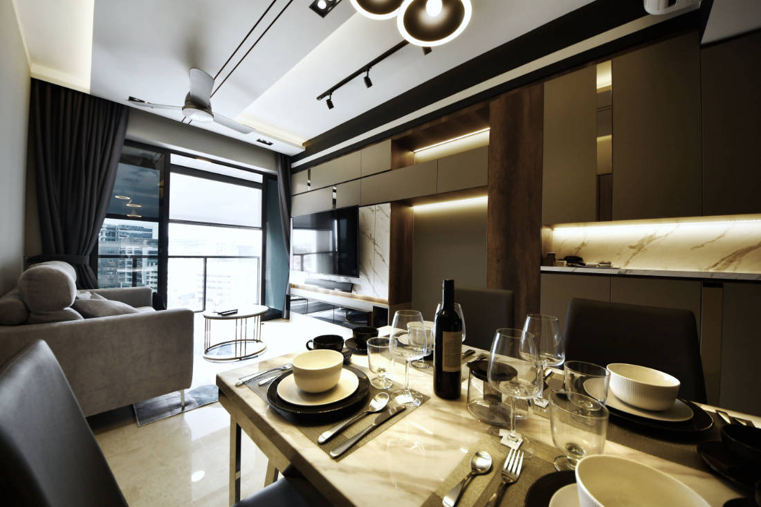 bachelor pad living area by Vivre Creative Design