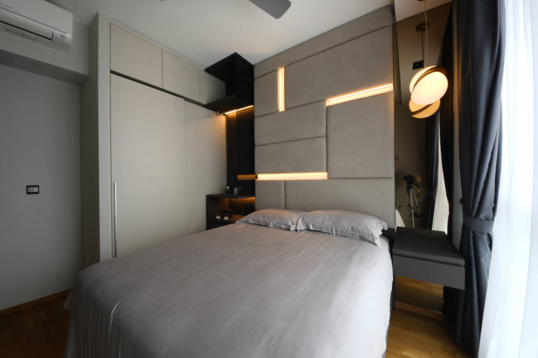 bachelor pad master bedroom by Vivre Creative Design
