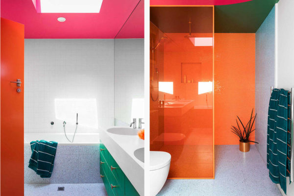 colourful bathroom designs by WOWOWA Architecture