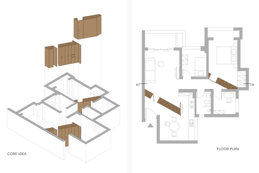 floor plan of Shenzhen apartment that added walls - design by GE Design