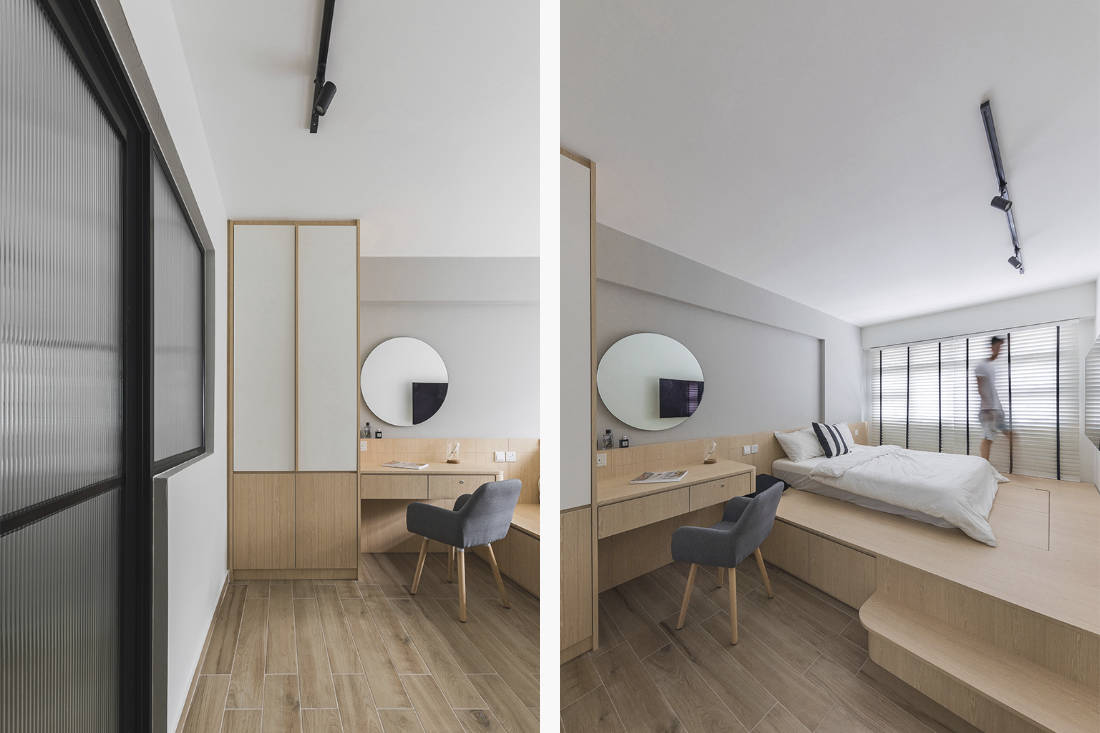 master bedroom- hdb flat designed with limited mobility in mind by Happe Design Atelier