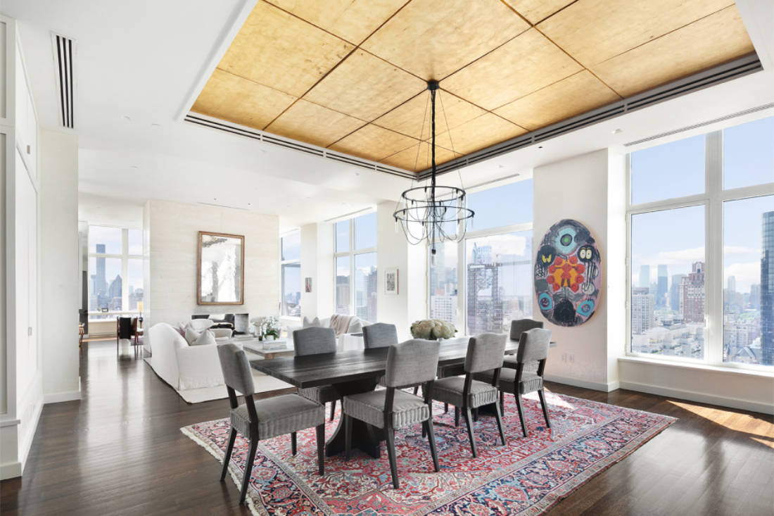 Jennifer Lawrence New York City penthouse formal living and dining