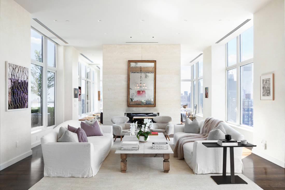 Jennifer Lawrence New York City penthouse formal living