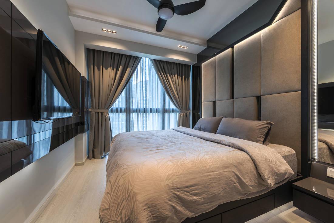 space-saving features in master bedroom condo by Vivre Creative Design