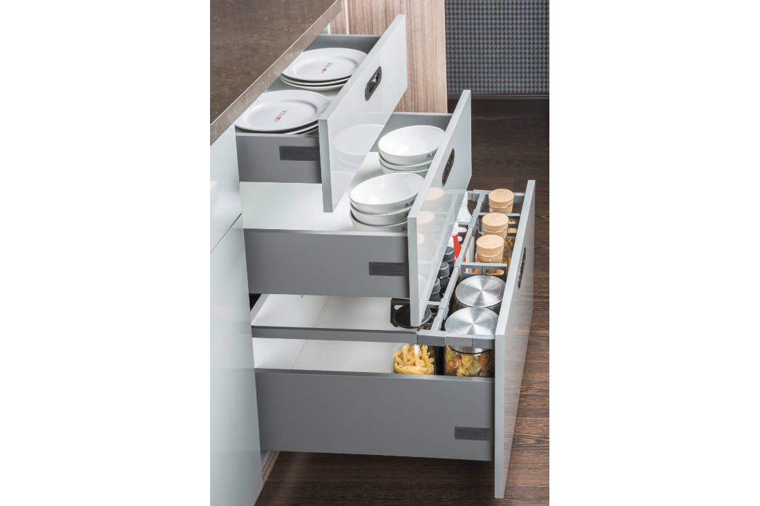 splurge on kitchen system for home renovation - ALTO-S slim drawer system from Hafele