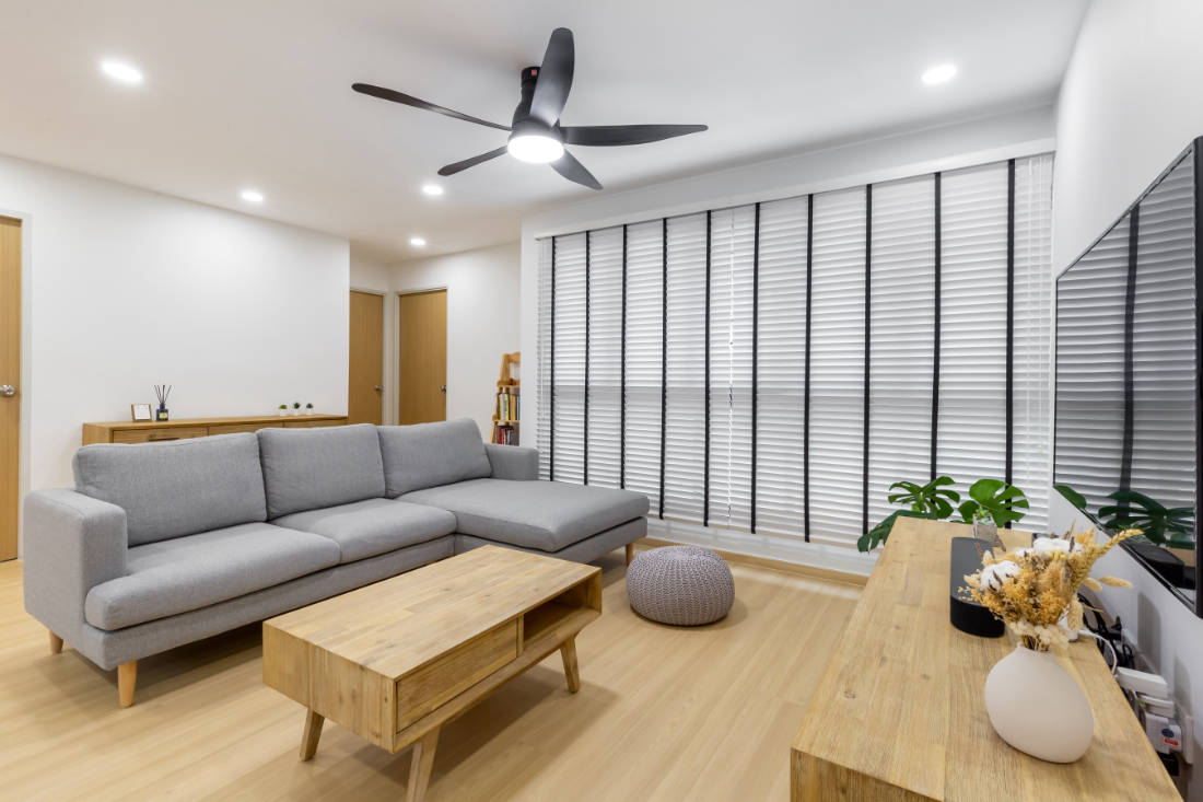 beat the heat with KDK U60FW ceiling fan - interior by E+e Design & Build