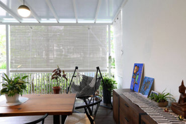 A breezy apartment patio designed for working from home
