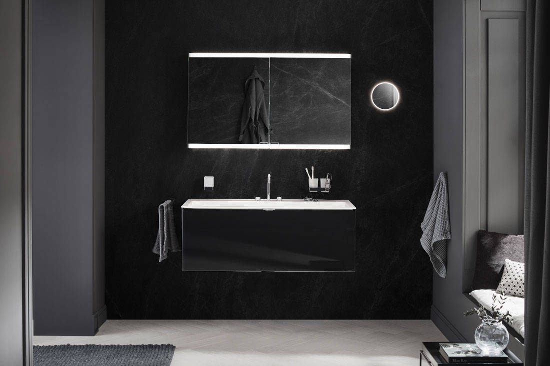 EVO Black Illuminated Mirror Cabinet emco Bad