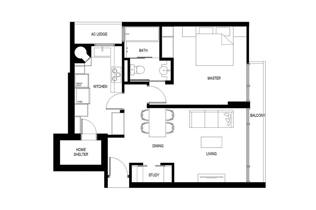 Before floor plan apartment Craftsmen Studio