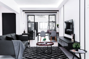Old resale flat now ultra chic in black and white