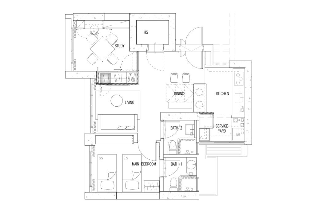 floor plan 3-room BTO project by D' Marvel Scale