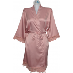 Lace Satin Robe Dusty Rose