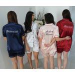 Embroidered Front and Back Satin PJ Set Lilac/Black