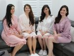 Set of 4 Lace Satin Robes Embroidered Front Only