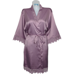 Lace Satin Robe Mauve