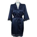 Lace Satin Robe Navy