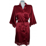 Lace Satin Robe Red Wine