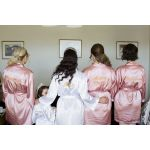 Set of 4 Satin Robes Embroidered Back Only