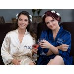 Set of 1 Satin Robes Embroidered Front Only
