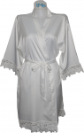 Lace Satin Robe White