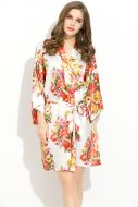 Floral Satin Robe White