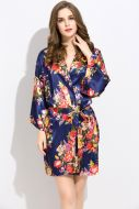 Floral Satin Robe Navy