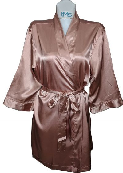 Embroidered Personalized Satin Robes Rose Gold S M