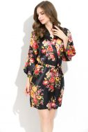 Floral Satin Robe Black