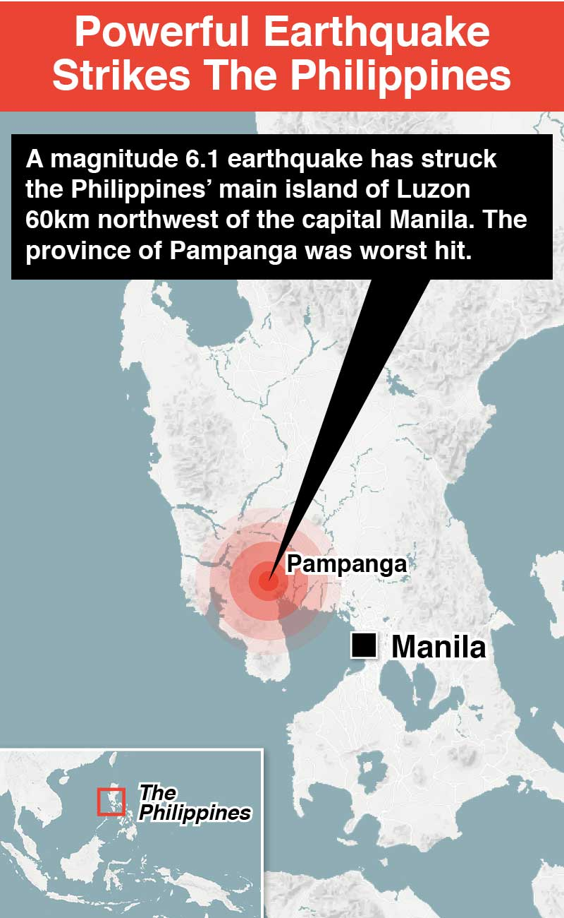 Philippines: Horror moment major earthquake shakes water