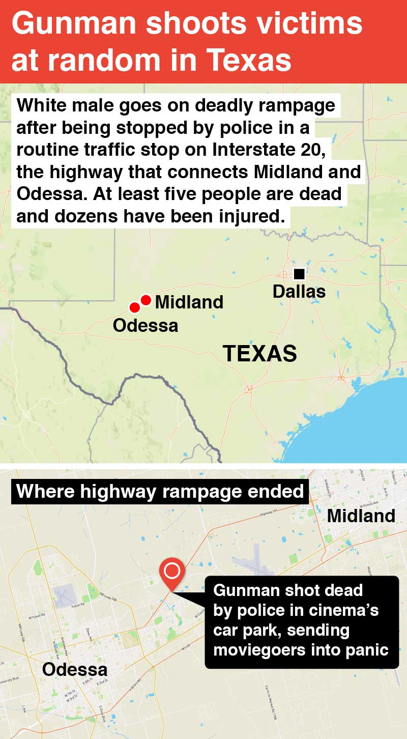 Odessa, Midland: Active shooter shot and killed in Texas