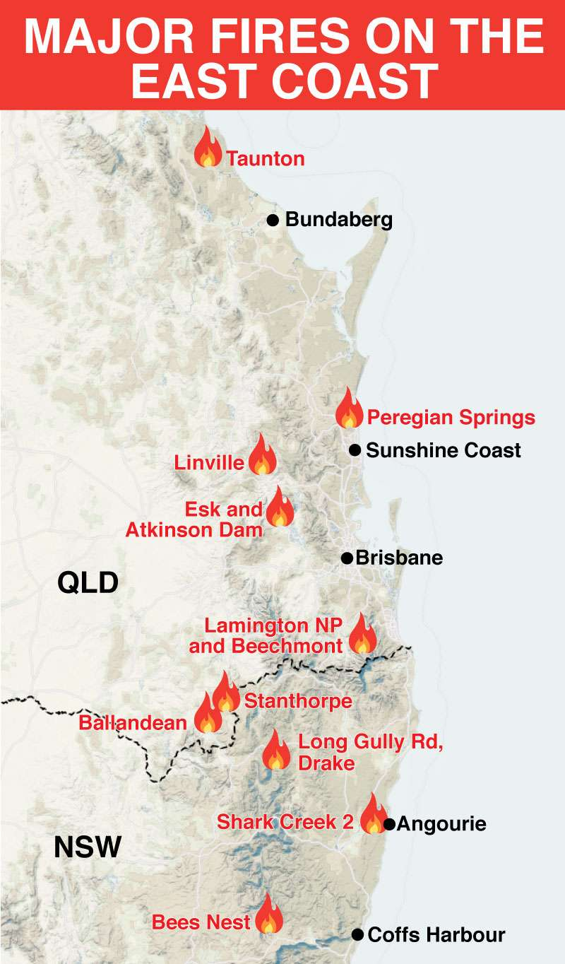 QLD bushfires: Map reveals worst hit places | Are there