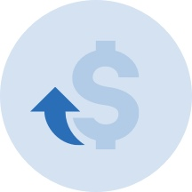Light blue vector graphic of a dollar sign with an upwards arrow