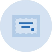 Light blue vector graphic of a certificate