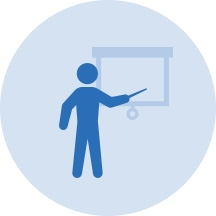 Light blue vector graphic of stick figure standing in front of presentation screen