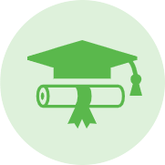 Green vector image of graduation cap and rolled up document