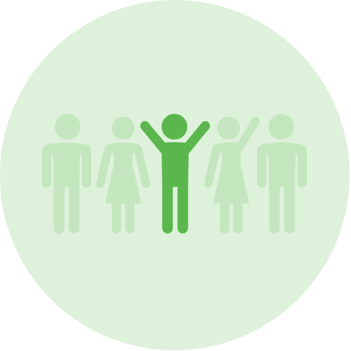 Green vector graphic of five stick figures. The figure in the middle has their hands up and is in a darker shade of green.