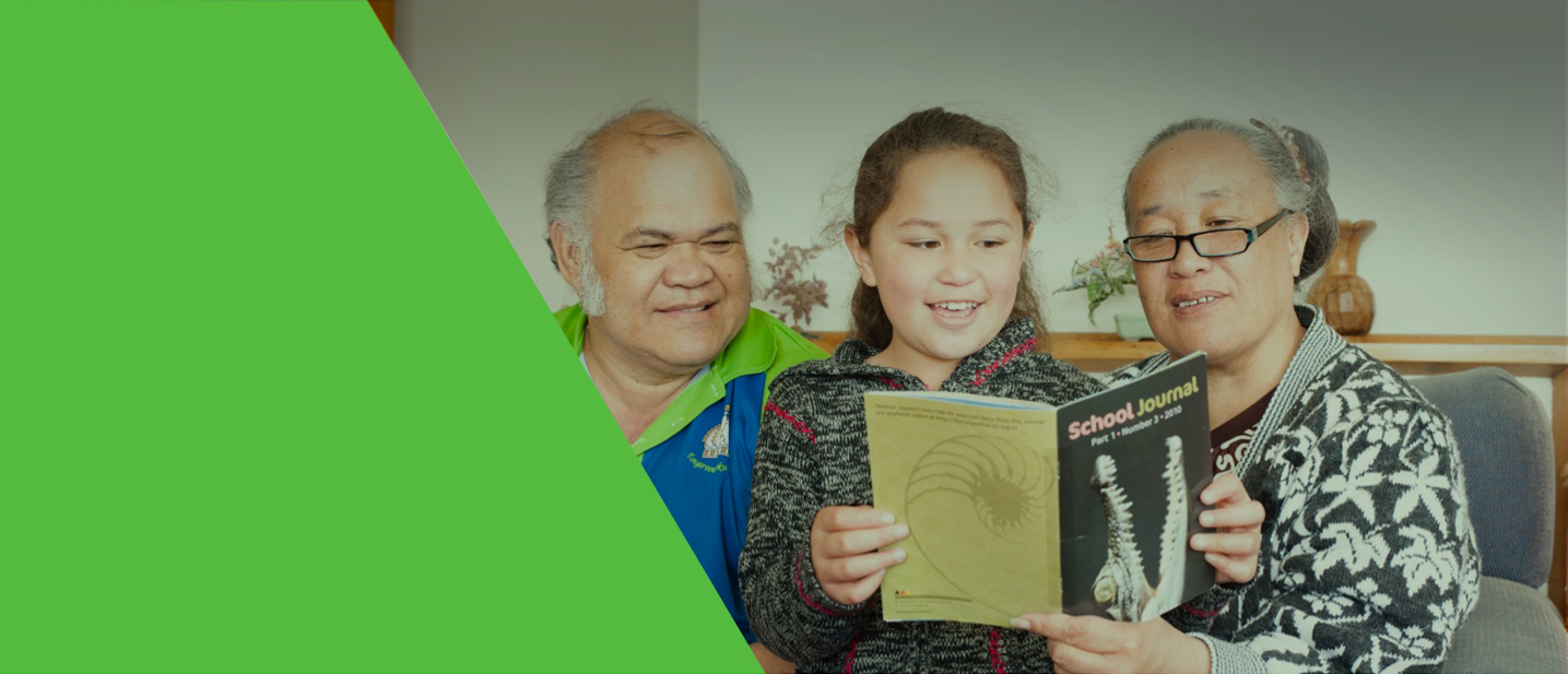 Photograph of child and grandparents reading a book