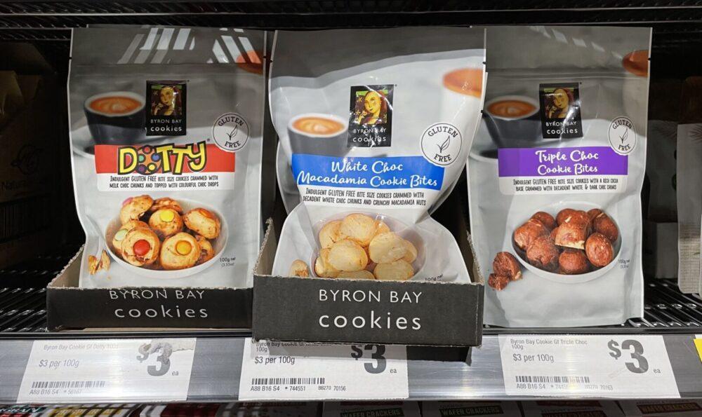 バイロンベイクッキー | GF 3種類 スーパー 陳列棚