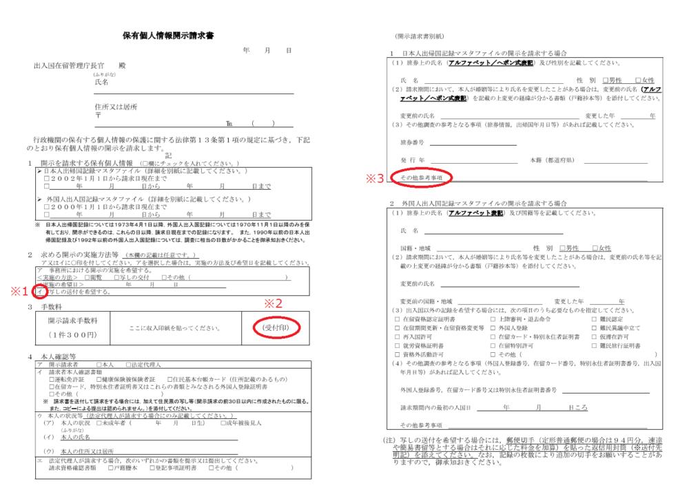 出入国記録   保有個人情報開示請求書