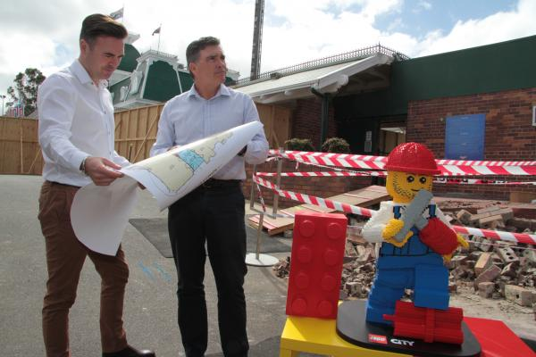 LEGO Senior Director of Marketing (AU&NZ) Troy Taylor (Left) and DW CEO Craig Davidson inspect the LEGO construction site at Dreamworld.JPG