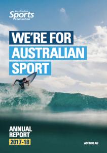 AUS Sports Fdn 2017-18 annual report