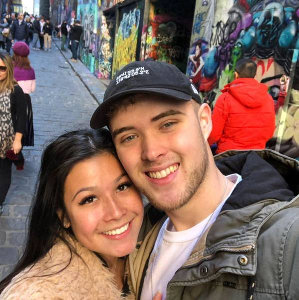 Couple taking selfie while travelling in Melbourne