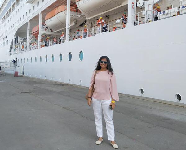 Person, Shoe, Clothing, Sunglasses, Ship, Transportation, Vehicle, Cruise Ship, Watercraft, Pants