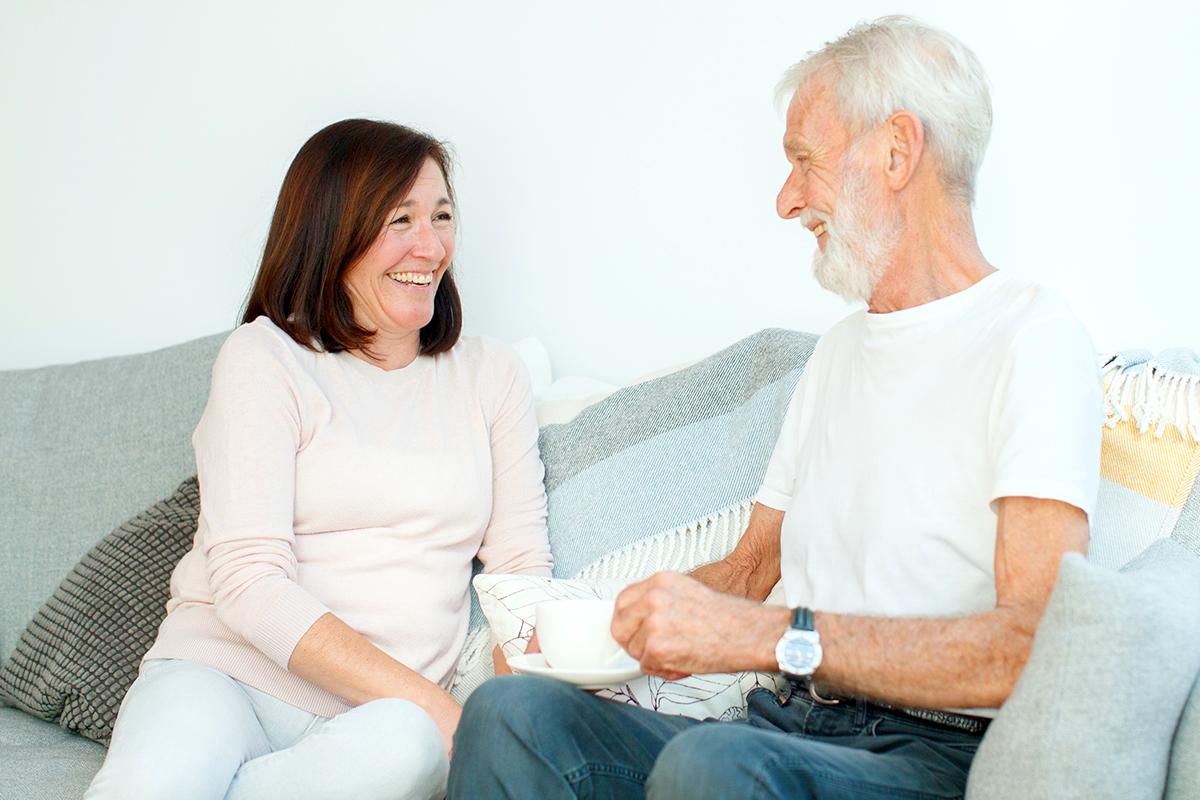 Person, Couch, Furniture, Sitting, Senior Citizen
