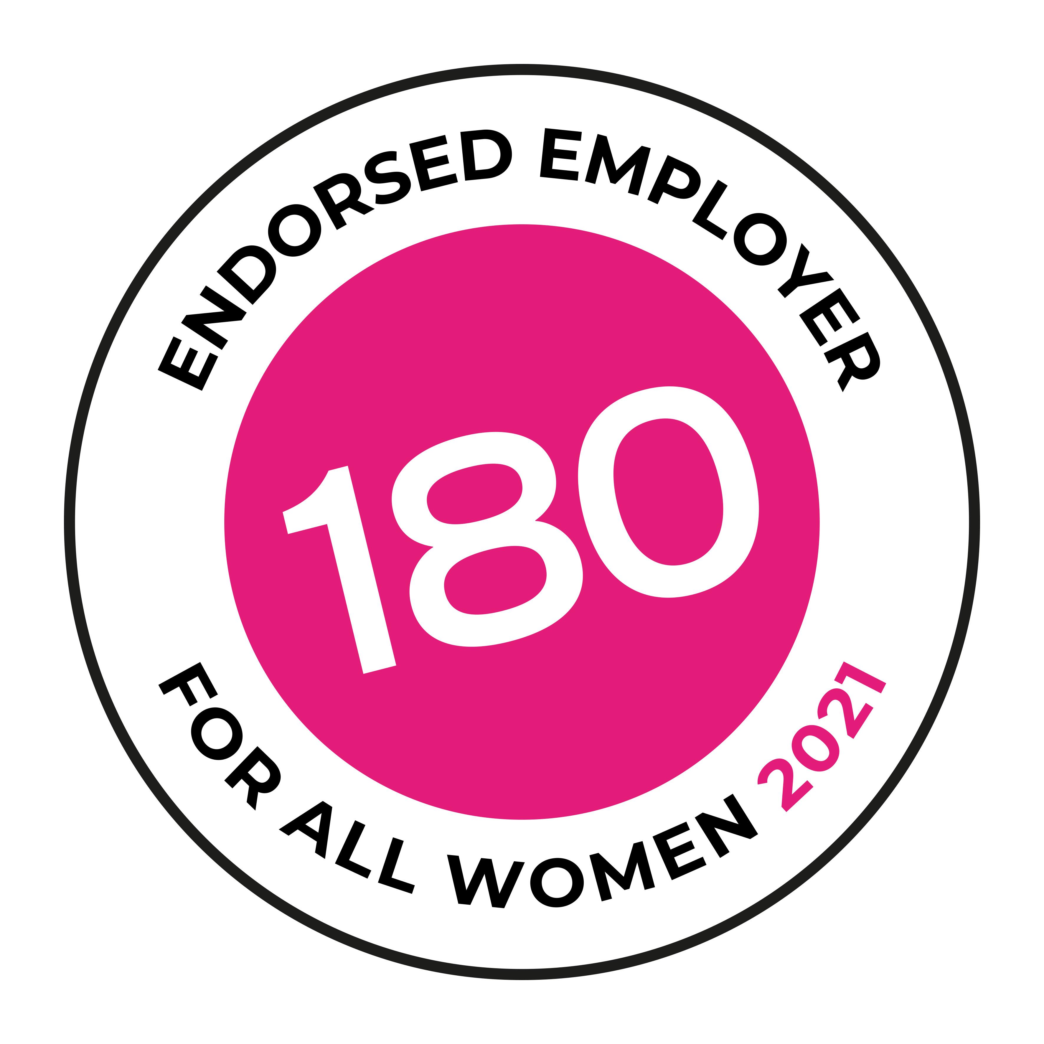 Endorsed employer: Work180, for all women 2021 logo