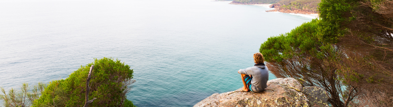 Person, Sitting, Outdoors, Nature, Rock, Sea, Water, Promontory, Chair, Clothing