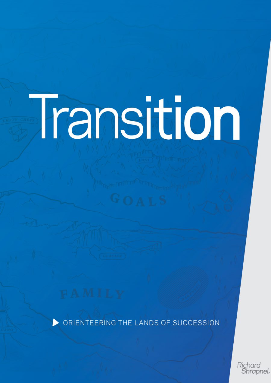 Richard Shrapnel's 'Transition - Orienteering The Lands of Succession' guide front cover
